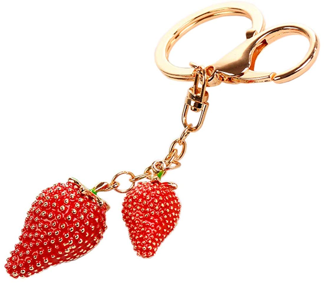 Cute Strawberry Crystal Rhinestone Keychain