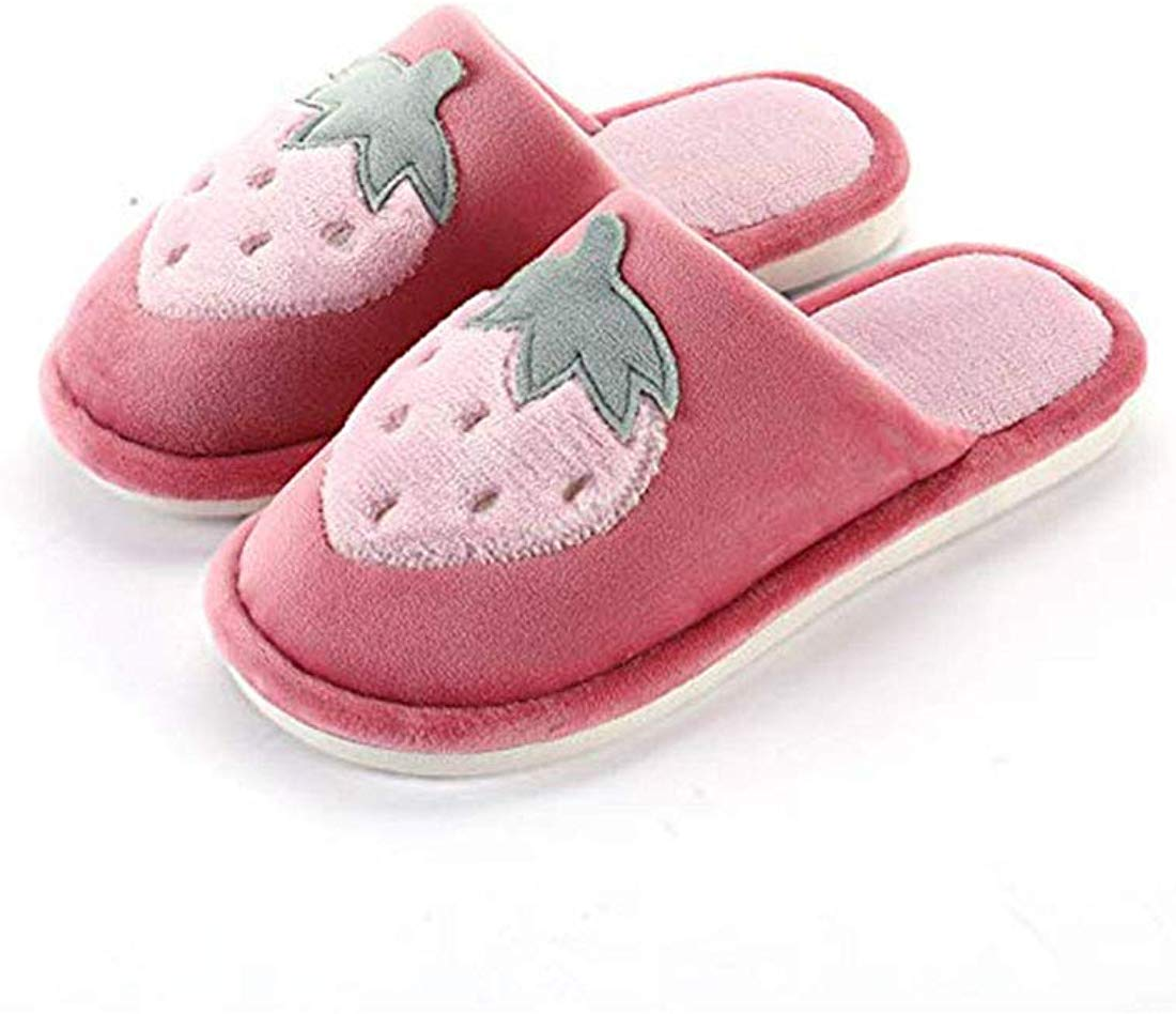 Strawberry Cotton Slippers Women's Indoor Cute Slippers Soft Slip Shoes Christmas New Year Thanksgiving Gifts - Strawberry gift ideas