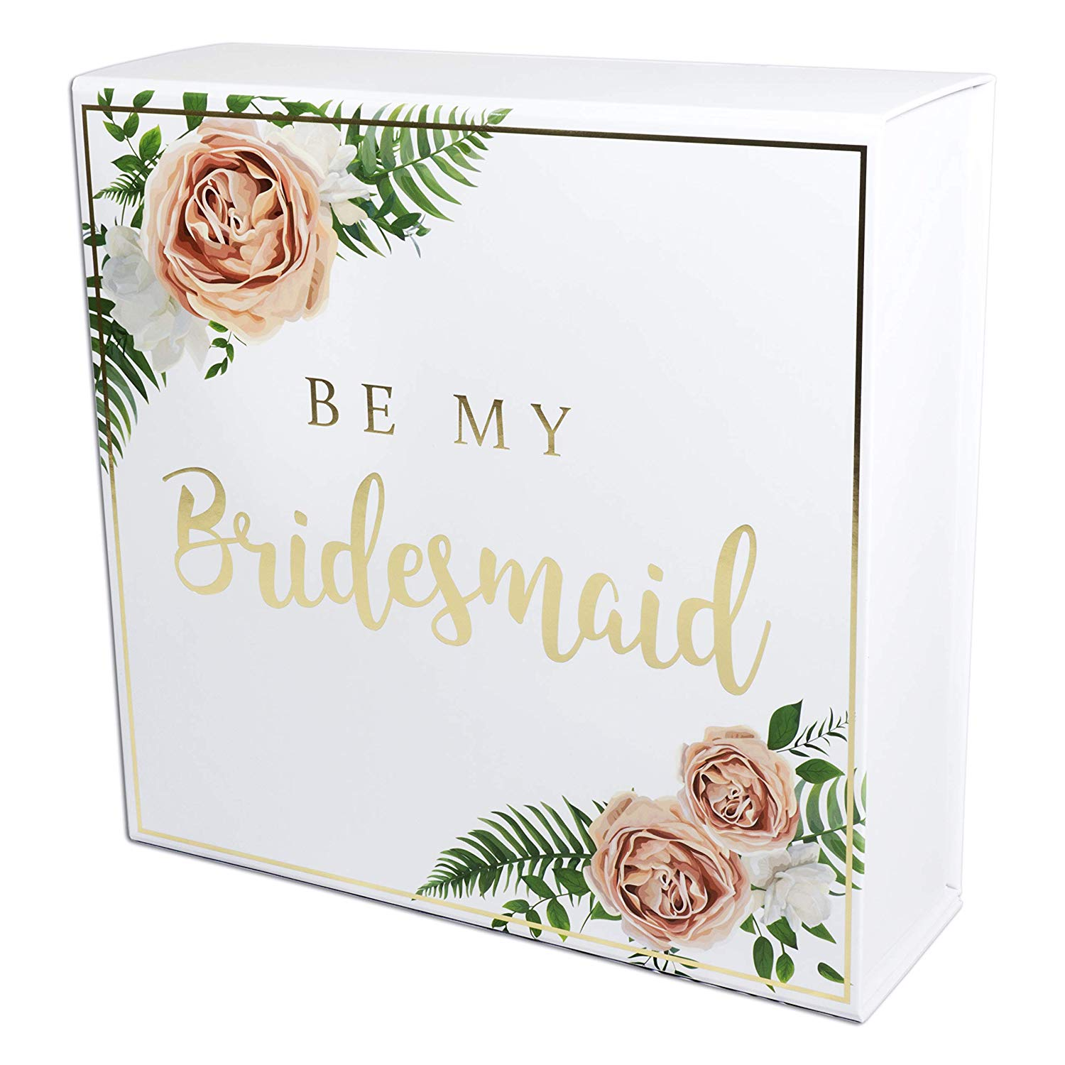 Roll over image to zoom in Blanche Bridesmaid Proposal Box with Gold Foiled Text | 1 Empty Box | Perfect for Will You Be My Bridesmaid Gift and Wedding Present