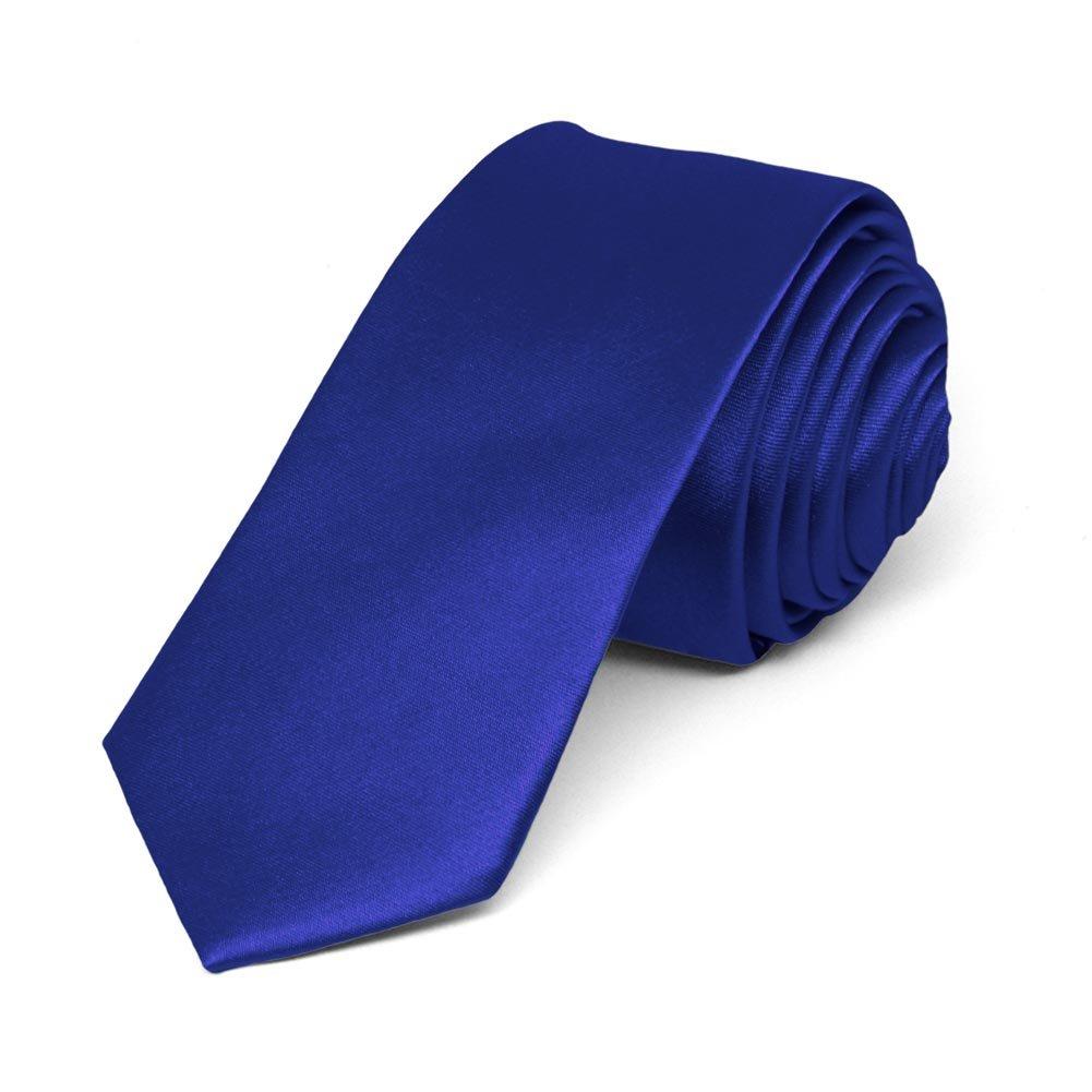 TieMart Sapphire Blue Skinny Solid Color Necktie - 45th anniversary gift ideas