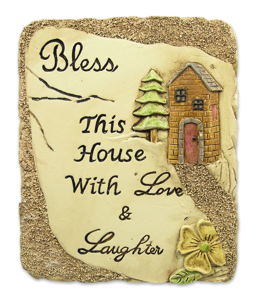 BANBERRY DESIGNS Bless This House Desktop Plaque with Inspirational Message Stone Decoration Carved House and Flowers