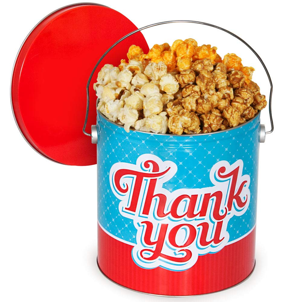 Thank You Popcorn Tin - popcorn lover gift ideas