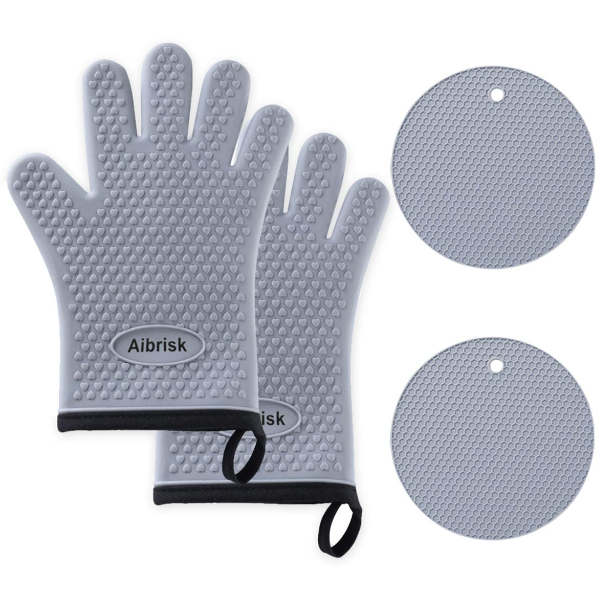 Aibrisk Silicone Oven Mitts and Pot Holders Cooking Gloves and Potholders