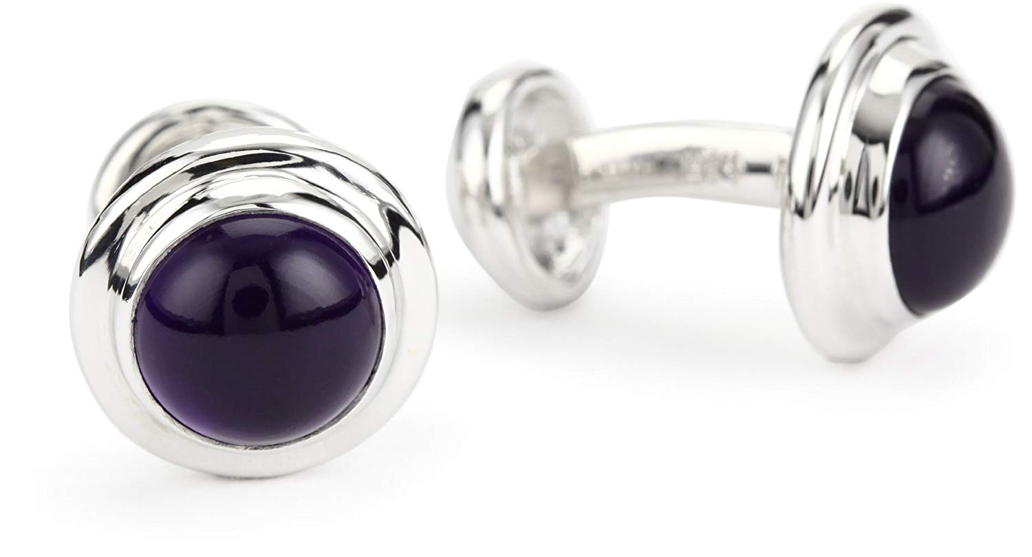"ROTENIER ""Classic"" Sterling Silver Globe with Amethyst Cufflinks"