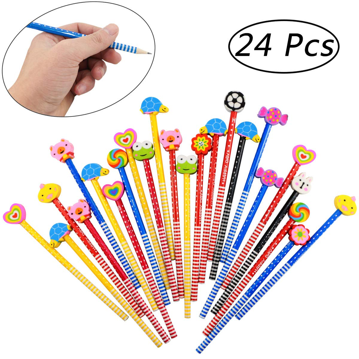 Etmact 24 Pack Kids Wooden Pencils,Colorful Stripe Pencil with Cute Animals Eraser