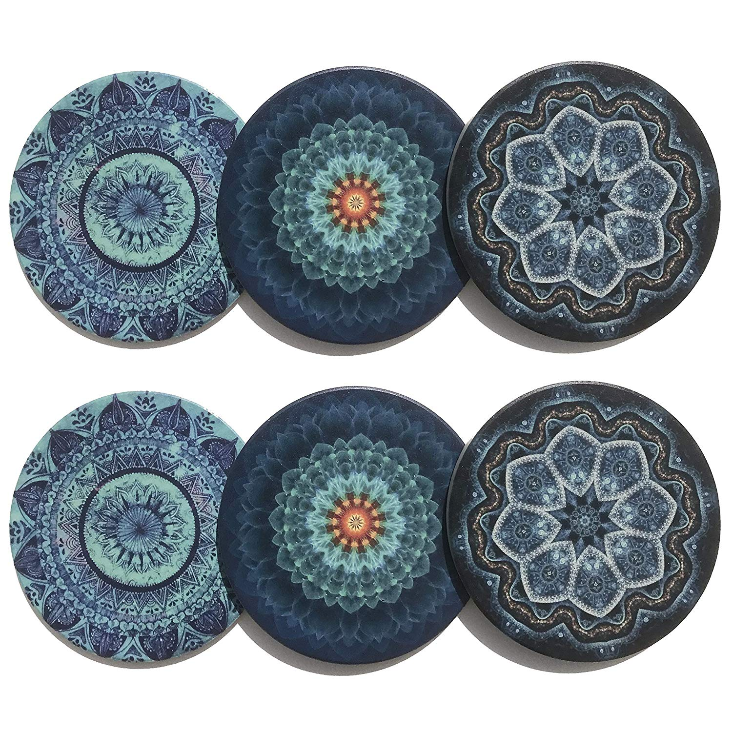 Unique Set of 6 Absorbent Ceramic Coasters for Protecting Furniture