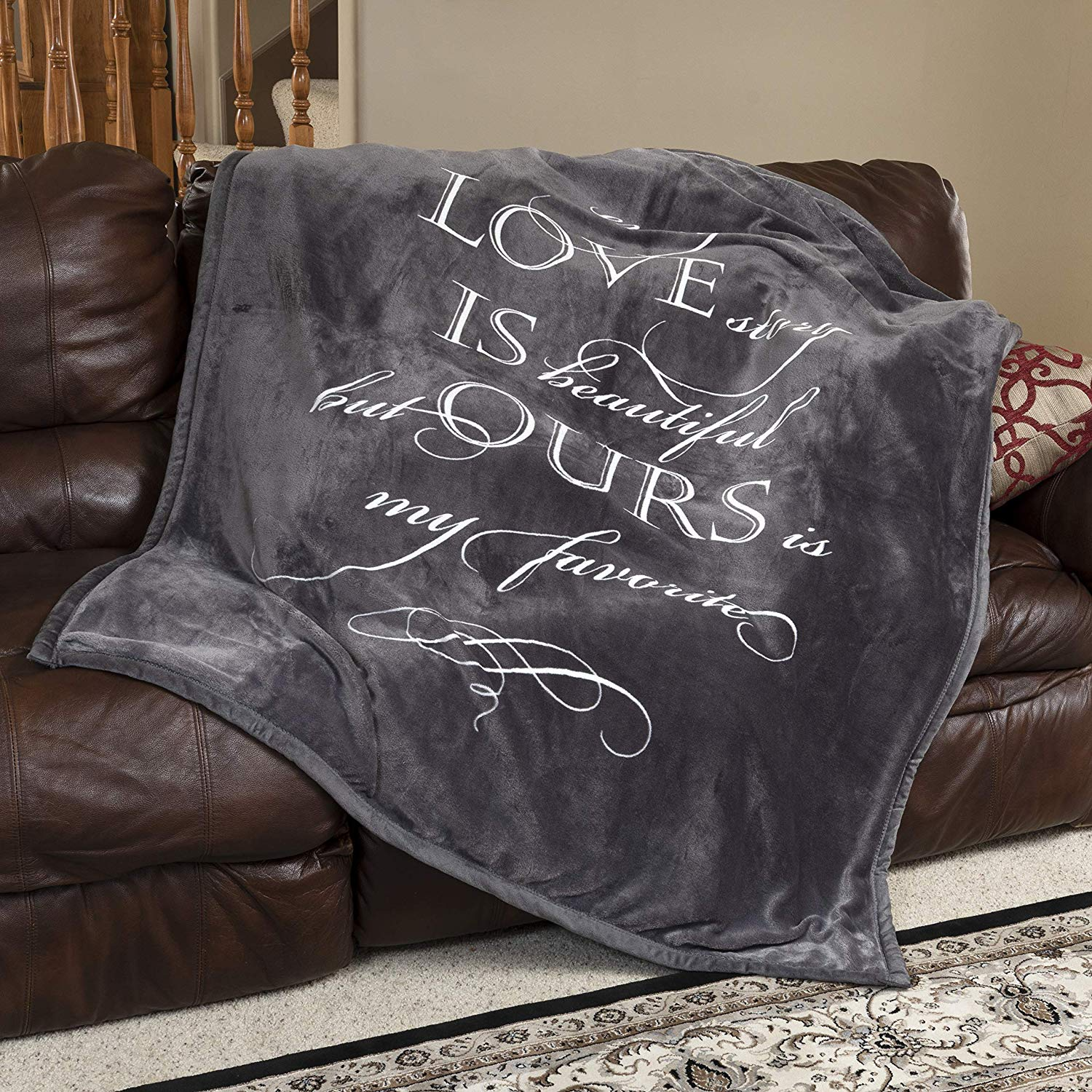 Personalized blanket with love note