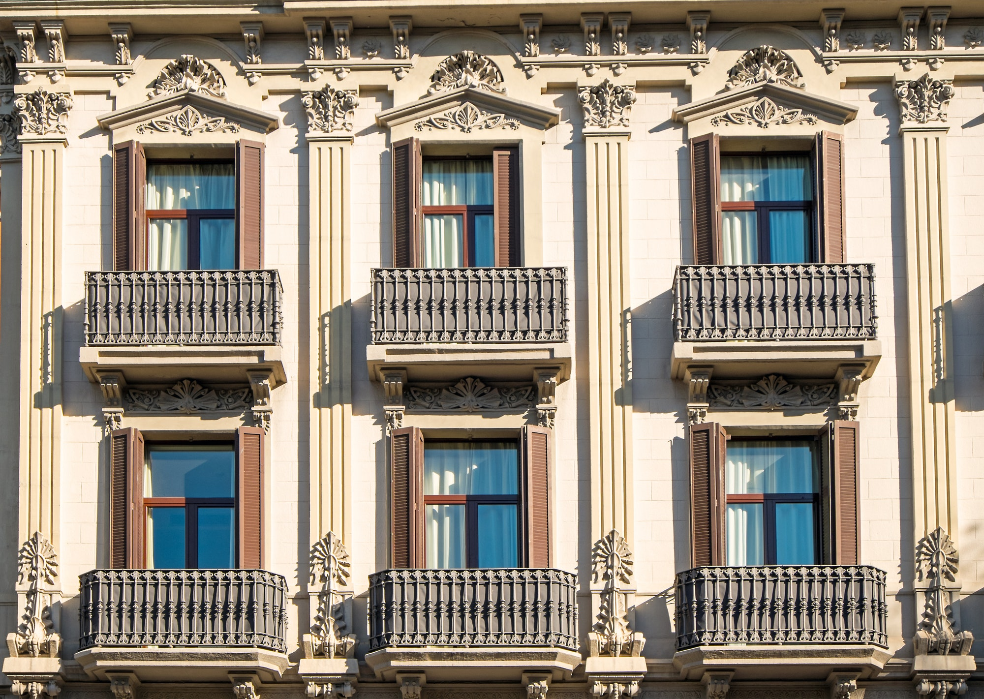 Facade with balconies in Barcelona